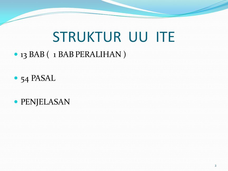 STRUKTUR UU ITE 13 BAB ( 1 BAB PERALIHAN ) 54 PASAL PENJELASAN
