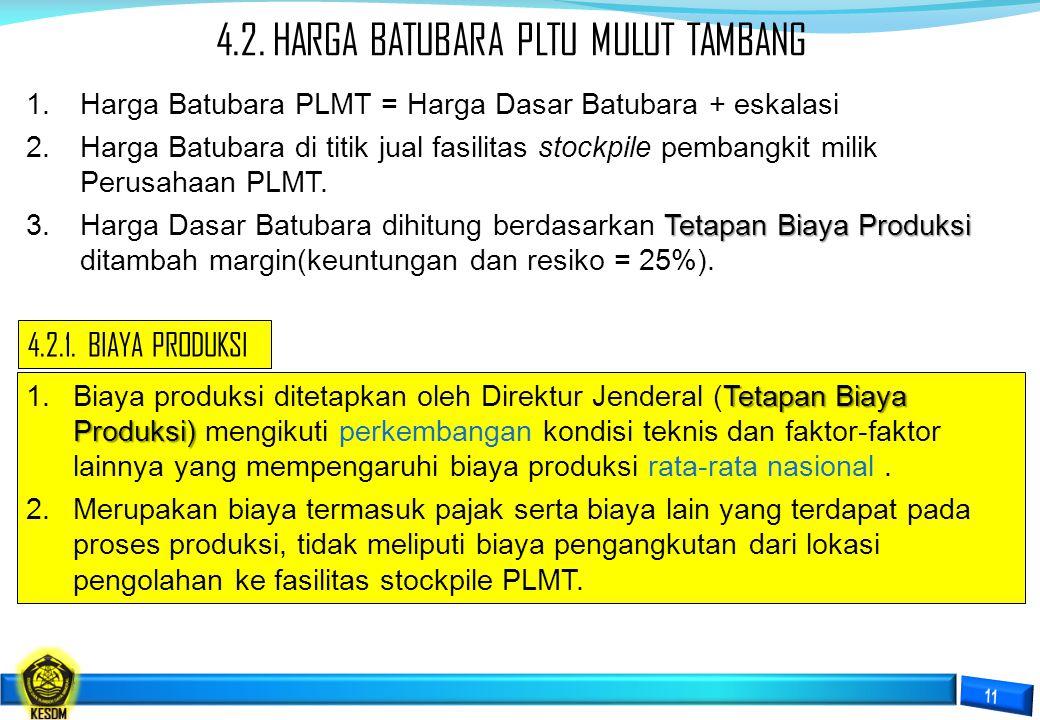 4.2. HARGA BATUBARA PLTU MULUT TAMBANG