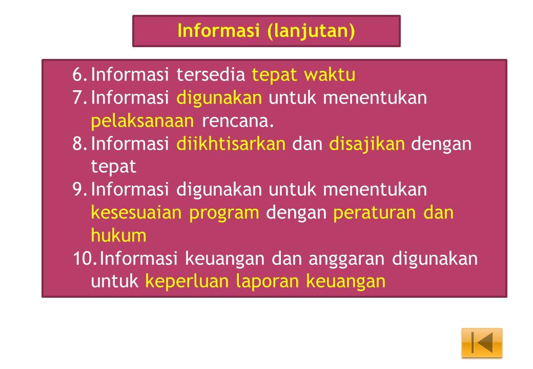 Informasi (lanjutan) Informasi tersedia tepat waktu. Informasi digunakan untuk menentukan pelaksanaan rencana.