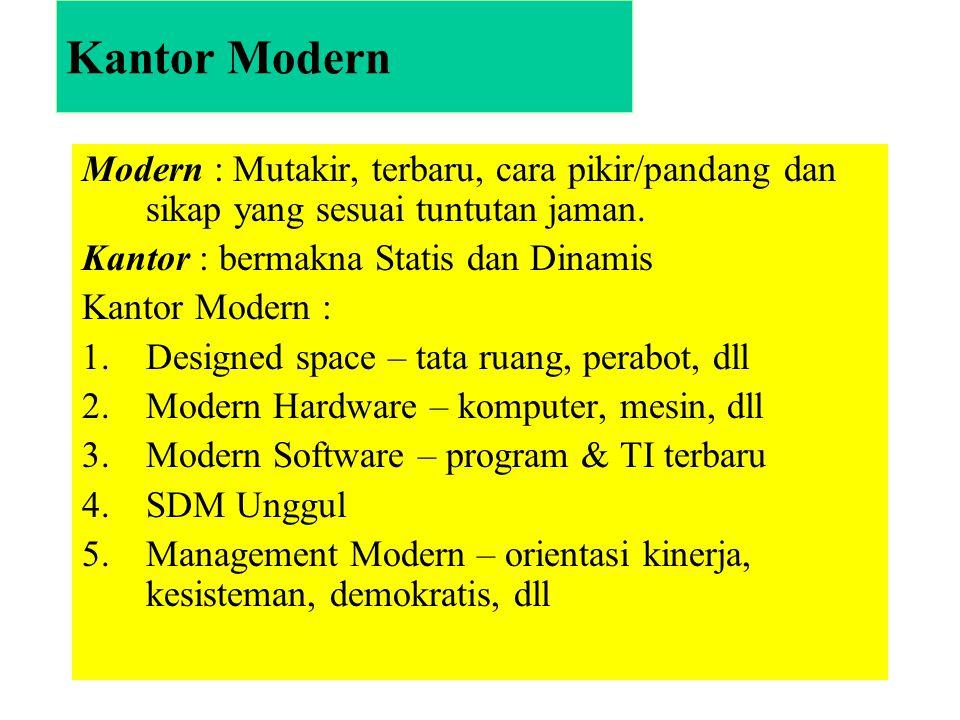 Kantor Modern Modern : Mutakir, terbaru, cara pikir/pandang dan sikap yang sesuai tuntutan jaman. Kantor : bermakna Statis dan Dinamis.