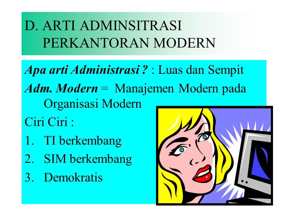 D. ARTI ADMINSITRASI PERKANTORAN MODERN