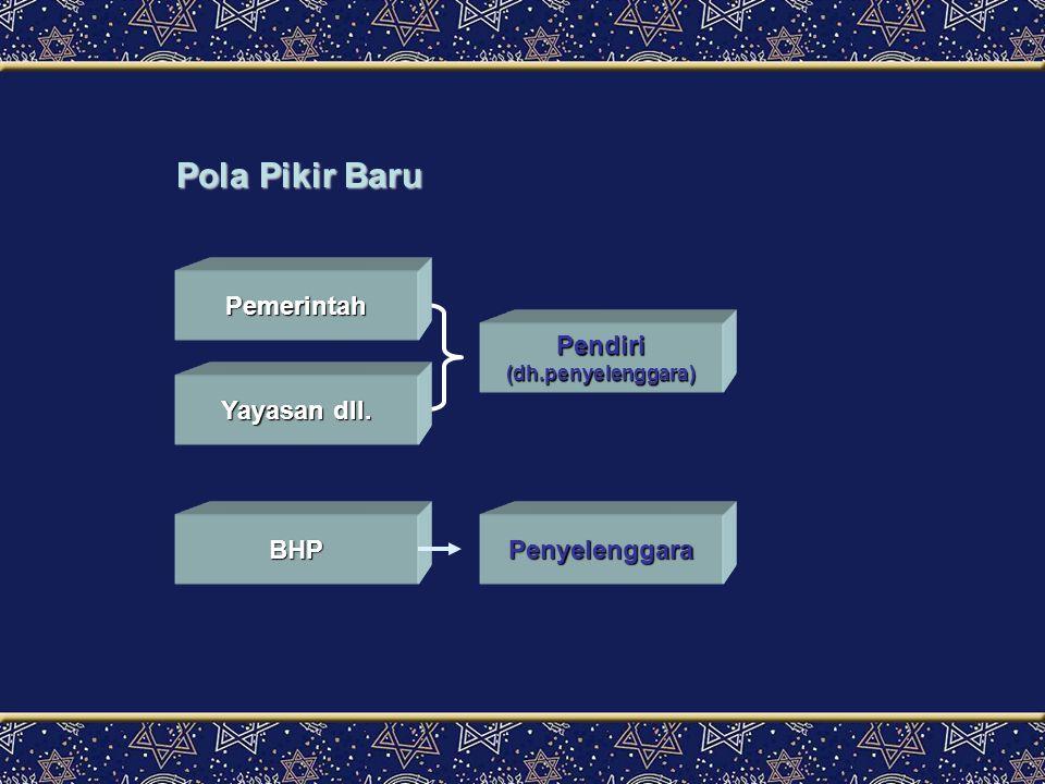 Pola Pikir Baru Pemerintah Pendiri Yayasan dll. BHP Penyelenggara