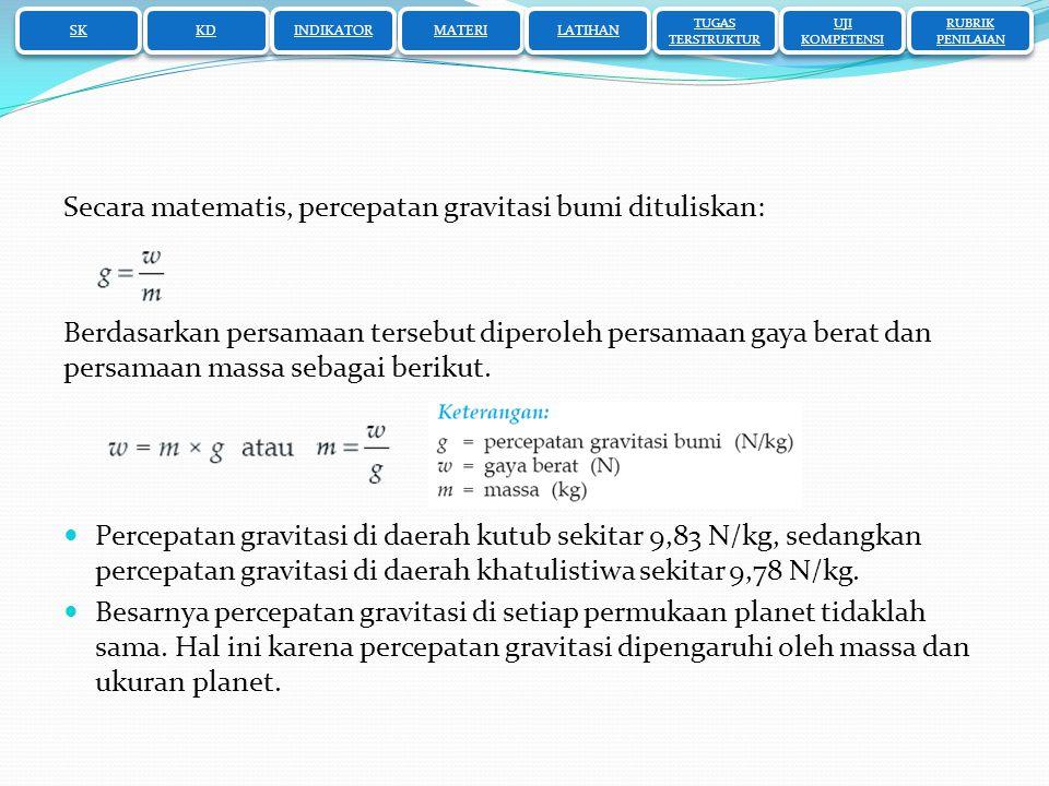 Secara matematis, percepatan gravitasi bumi dituliskan: