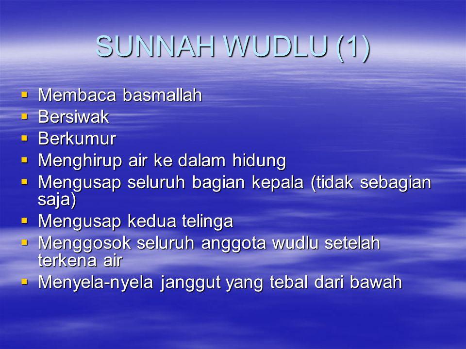 SUNNAH WUDLU (1) Membaca basmallah Bersiwak Berkumur