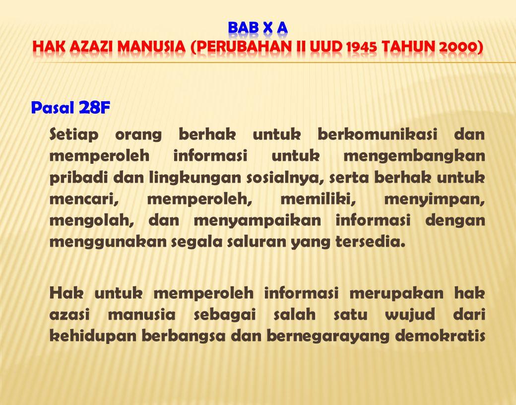 BAB X A Hak Azazi Manusia (Perubahan II UUD 1945 Tahun 2000)