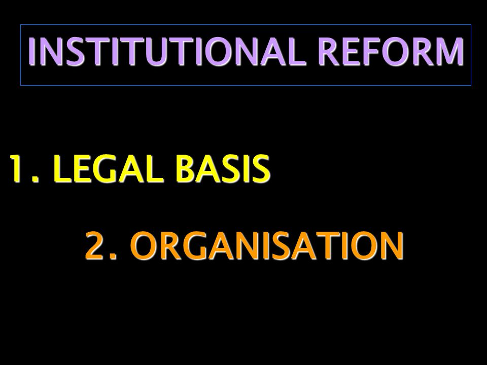 INSTITUTIONAL REFORM 1. LEGAL BASIS 2. ORGANISATION