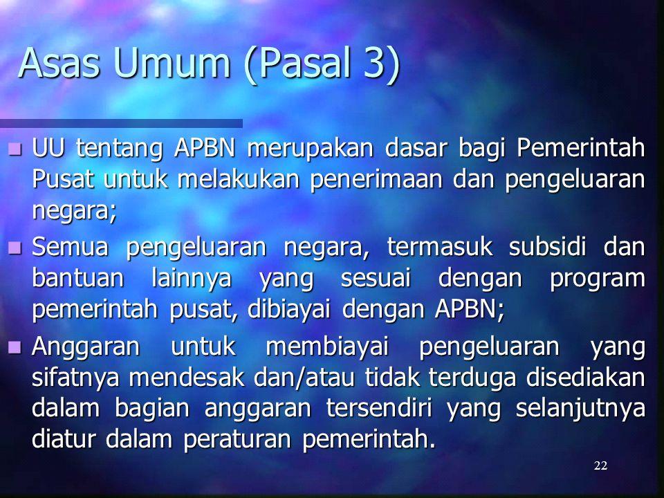 Asas Umum (Pasal 3) UU tentang APBN merupakan dasar bagi Pemerintah Pusat untuk melakukan penerimaan dan pengeluaran negara;