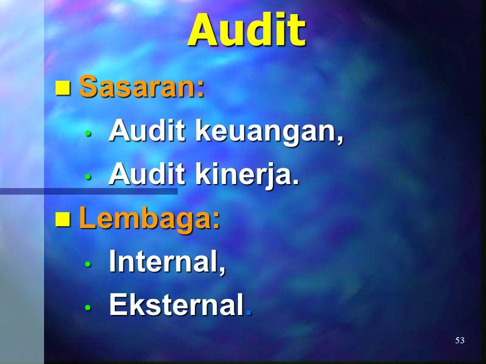 Sasaran: Audit keuangan, Audit kinerja. Lembaga: Internal, Eksternal.