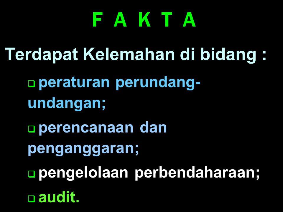 F A K T A Terdapat Kelemahan di bidang : peraturan perundang-undangan;