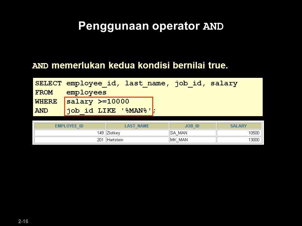 Penggunaan operator AND