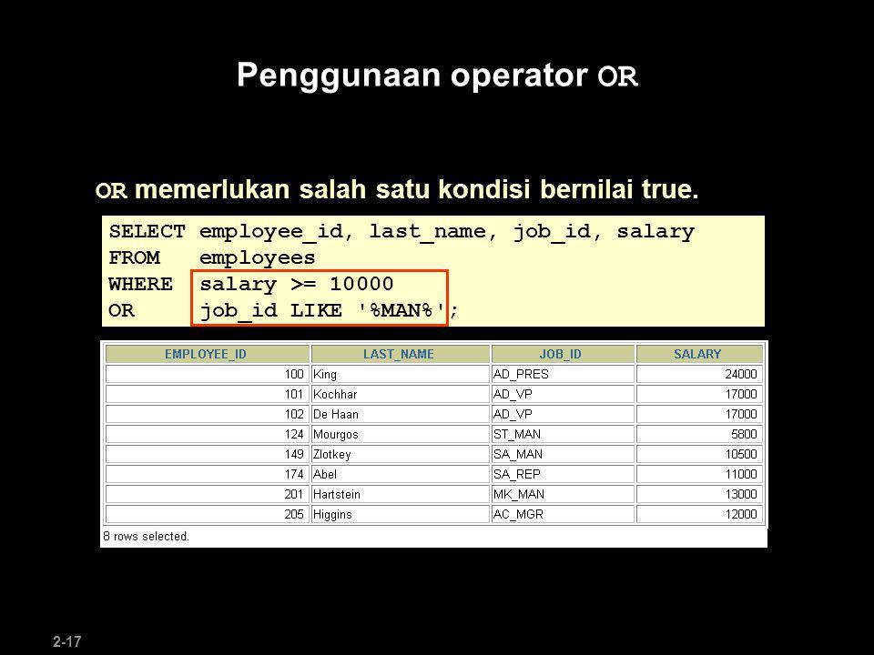 Penggunaan operator OR