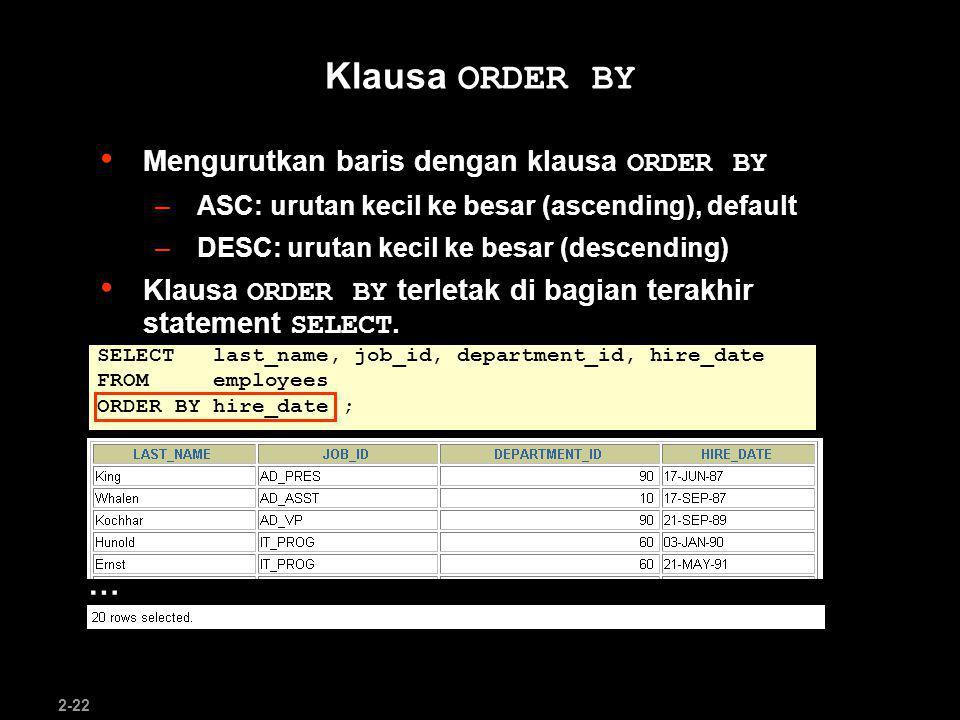 Klausa ORDER BY … Mengurutkan baris dengan klausa ORDER BY