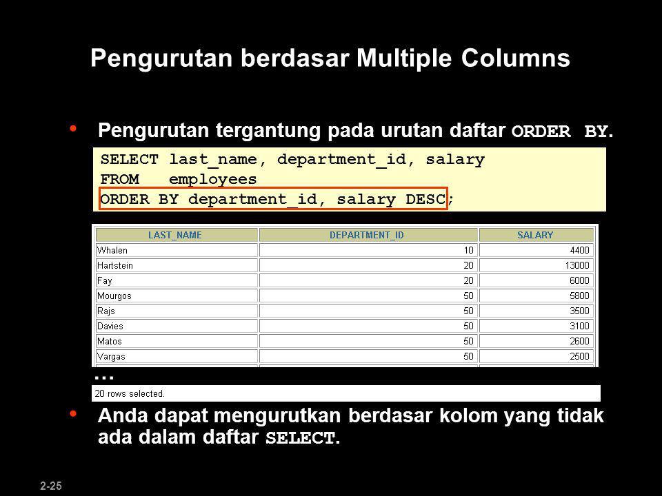 Pengurutan berdasar Multiple Columns