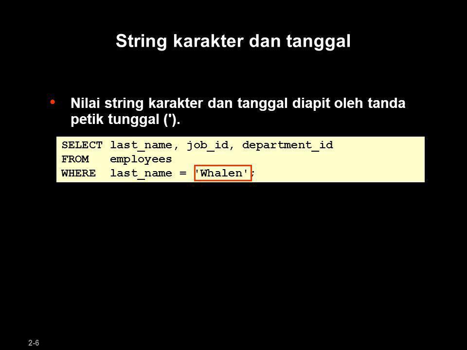String karakter dan tanggal