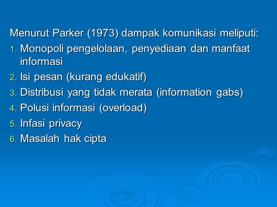 Menurut Parker (1973) dampak komunikasi meliputi: