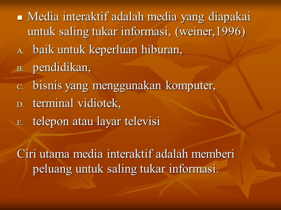Media interaktif adalah media yang diapakai untuk saling tukar informasi, (weiner,1996)