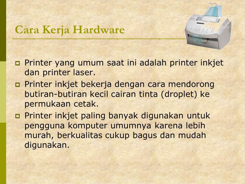 Cara Kerja Hardware Printer yang umum saat ini adalah printer inkjet dan printer laser.