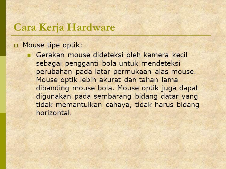 Cara Kerja Hardware Mouse tipe optik: