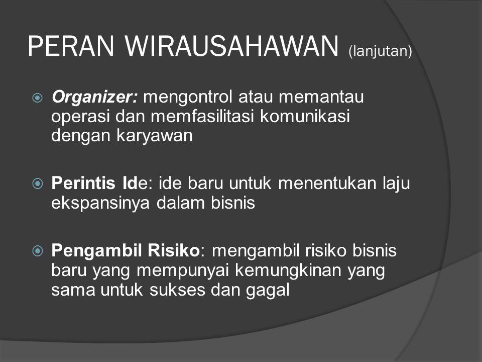 PERAN WIRAUSAHAWAN (lanjutan)