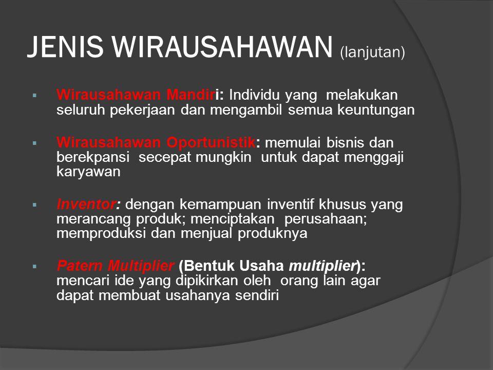 JENIS WIRAUSAHAWAN (lanjutan)