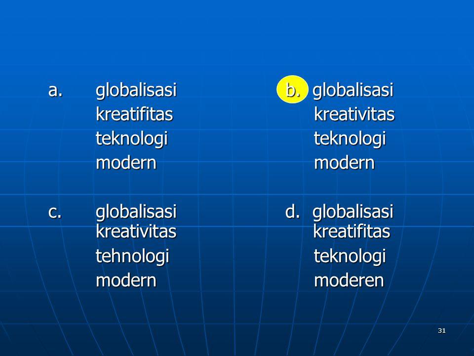 a. globalisasi b. globalisasi