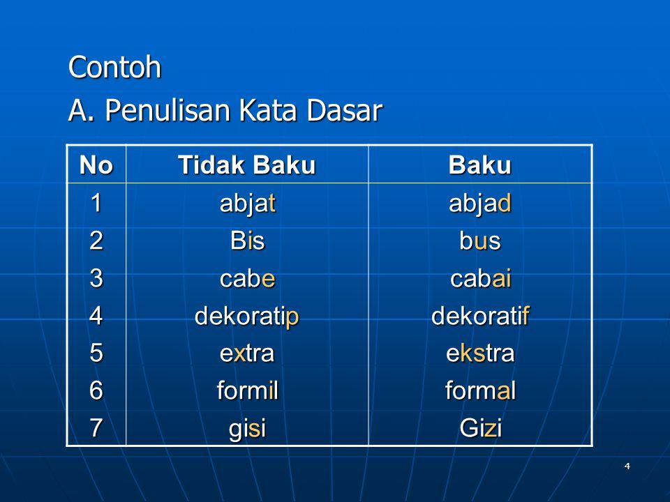 Contoh A. Penulisan Kata Dasar No Tidak Baku Baku 1 2 3 4 5 6 7 abjat