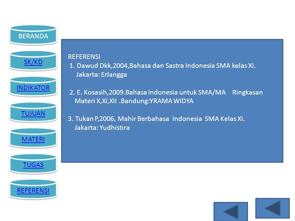 REFERENSI 1. Dawud Dkk,2004,Bahasa dan Sastra Indonesia SMA kelas XI. Jakarta: Erlangga.
