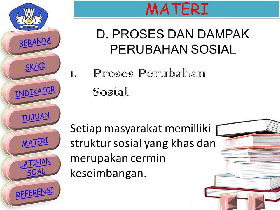 D. PROSES DAN DAMPAK PERUBAHAN SOSIAL