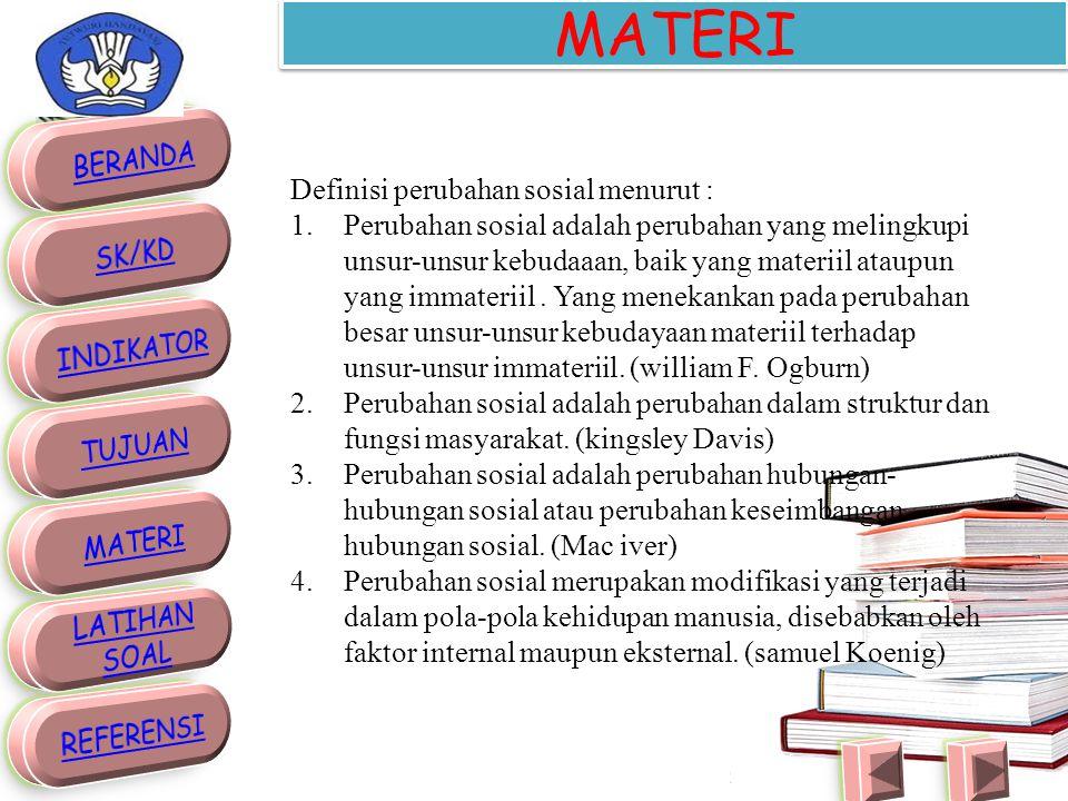 MATERI Definisi perubahan sosial menurut :