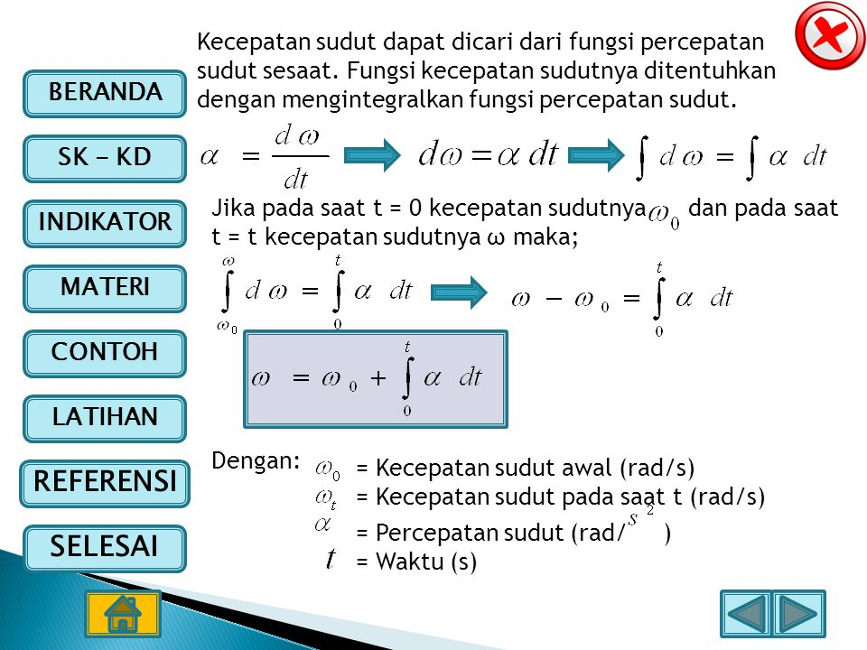 Kecepatan sudut dapat dicari dari fungsi percepatan sudut sesaat