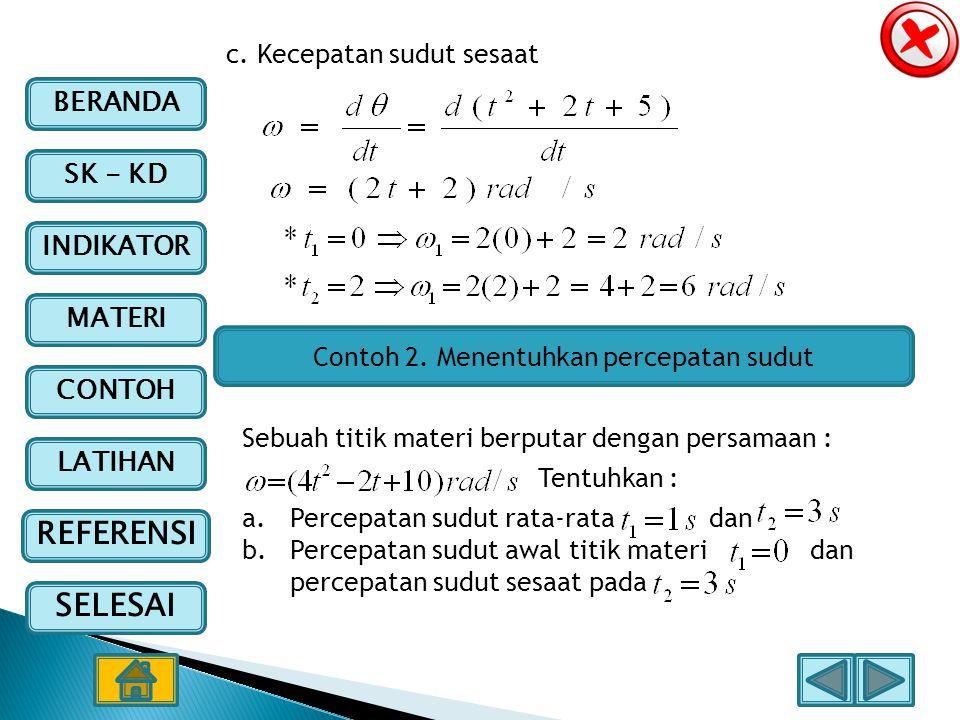 Contoh 2. Menentuhkan percepatan sudut