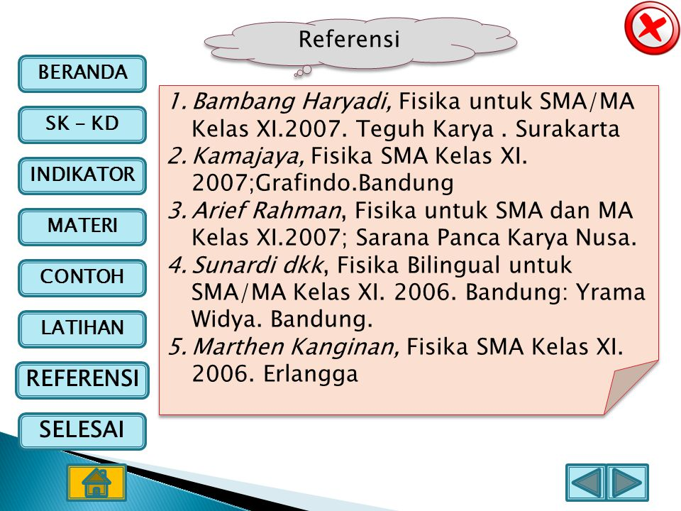 Referensi Bambang Haryadi, Fisika untuk SMA/MA Kelas XI.2007. Teguh Karya . Surakarta. Kamajaya, Fisika SMA Kelas XI. 2007;Grafindo.Bandung.
