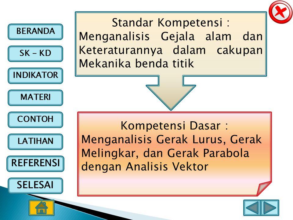Standar Kompetensi : Menganalisis Gejala alam dan Keteraturannya dalam cakupan Mekanika benda titik.