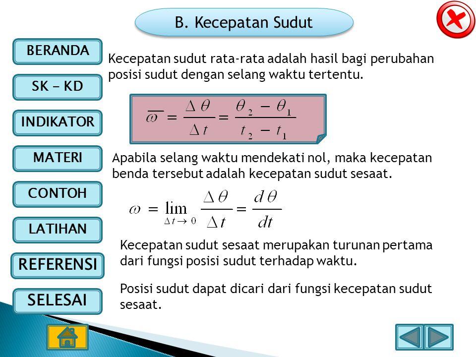 B. Kecepatan Sudut Kecepatan sudut rata-rata adalah hasil bagi perubahan posisi sudut dengan selang waktu tertentu.