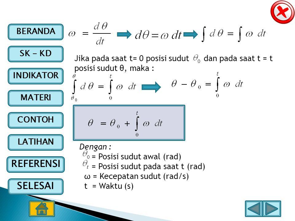 Jika pada saat t= 0 posisi sudut dan pada saat t = t posisi sudut θ, maka :