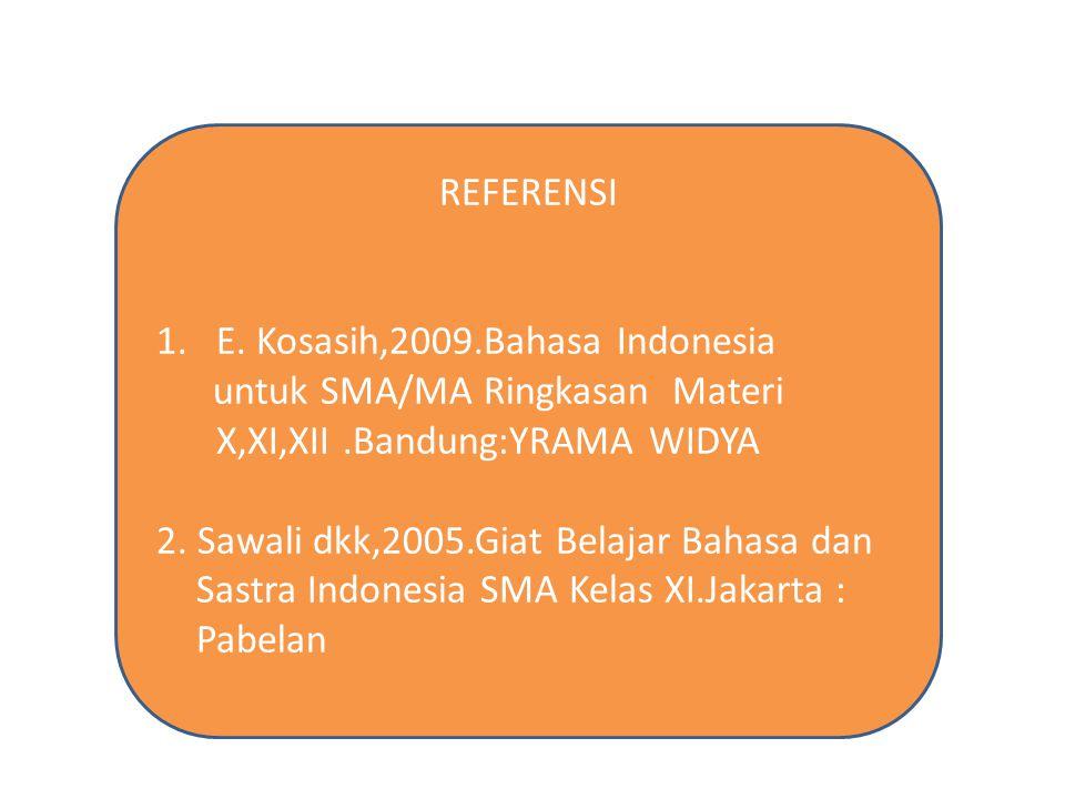 REFERENSI E. Kosasih,2009.Bahasa Indonesia. untuk SMA/MA Ringkasan Materi X,XI,XII .Bandung:YRAMA WIDYA.
