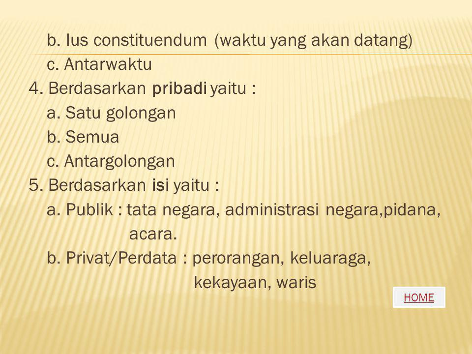 b. Ius constituendum (waktu yang akan datang) c. Antarwaktu 4