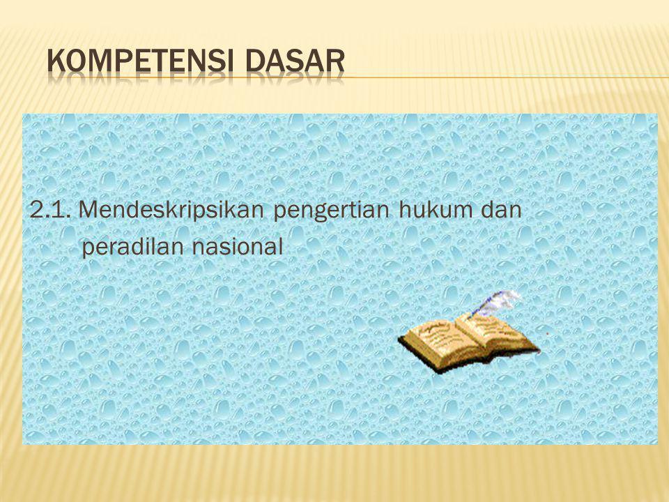KOMPETENSI DASAR 2.1. Mendeskripsikan pengertian hukum dan
