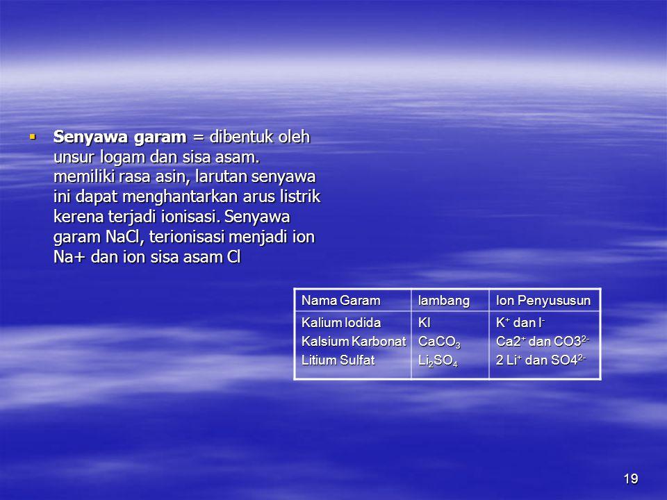 Senyawa garam = dibentuk oleh unsur logam dan sisa asam