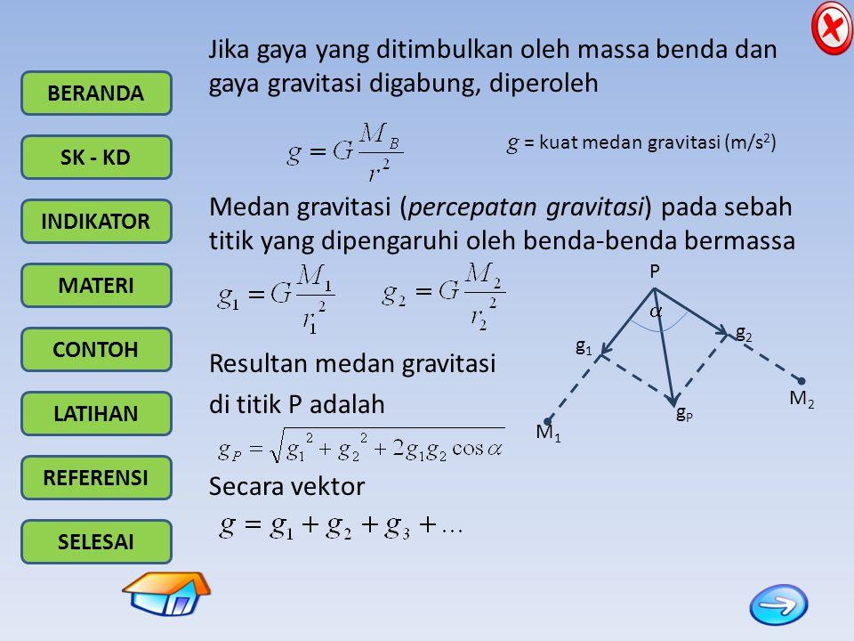 Resultan medan gravitasi di titik P adalah Secara vektor