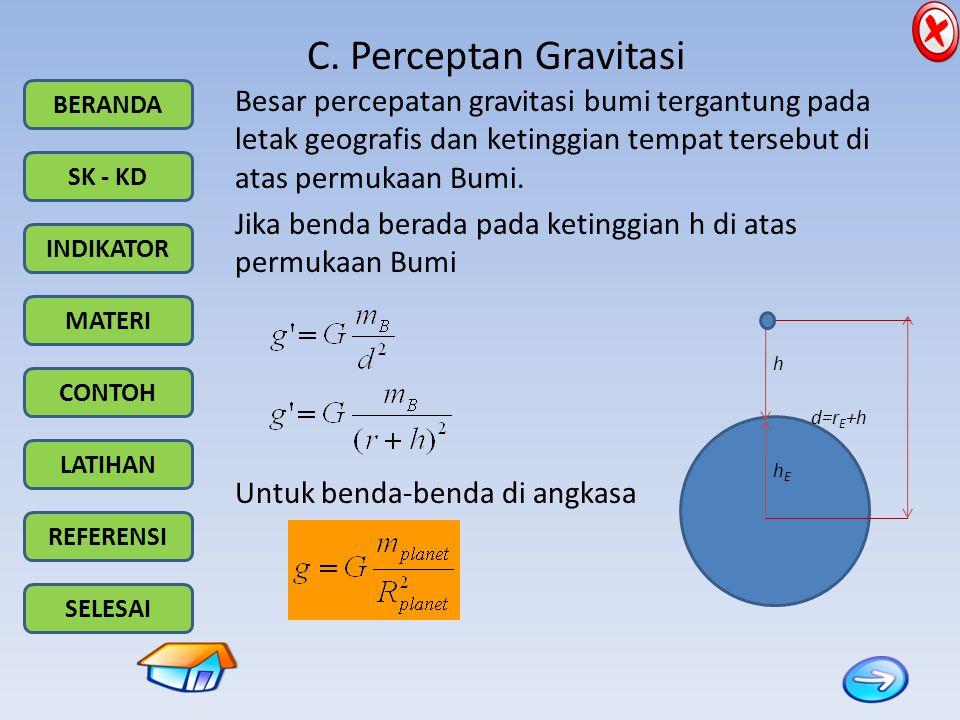 Besar percepatan gravitasi bumi tergantung pada letak geografis dan ketinggian tempat tersebut di atas permukaan Bumi.