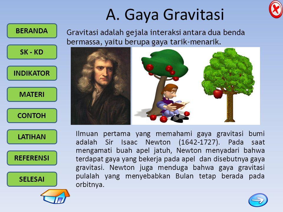 A. Gaya Gravitasi Gravitasi adalah gejala interaksi antara dua benda bermassa, yaitu berupa gaya tarik-menarik.