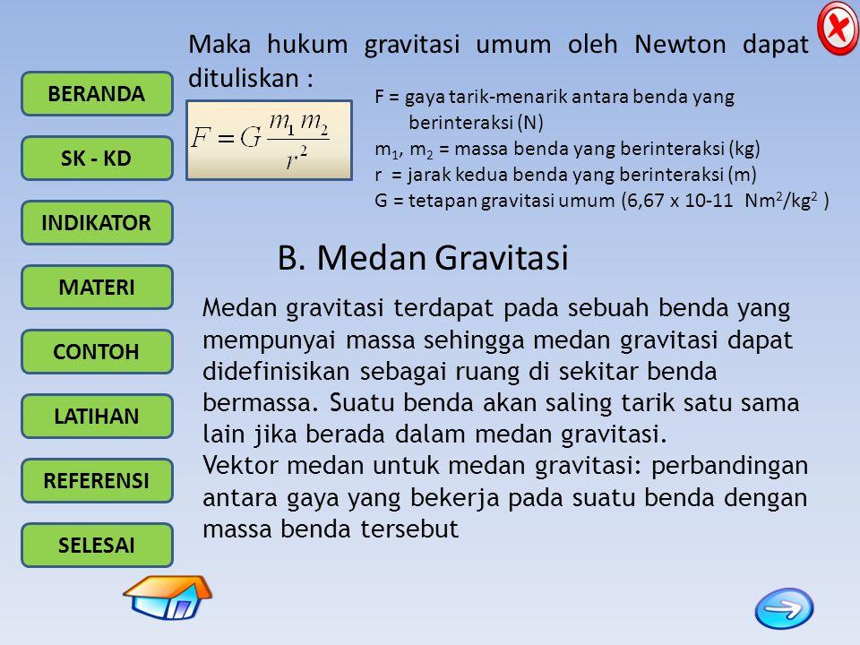 Maka hukum gravitasi umum oleh Newton dapat dituliskan :