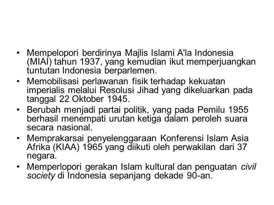 Mempelopori berdirinya Majlis Islami A la Indonesia (MIAI) tahun 1937, yang kemudian ikut memperjuangkan tuntutan Indonesia berparlemen.