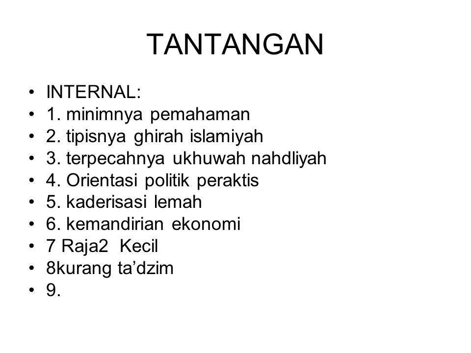 TANTANGAN INTERNAL: 1. minimnya pemahaman 2. tipisnya ghirah islamiyah