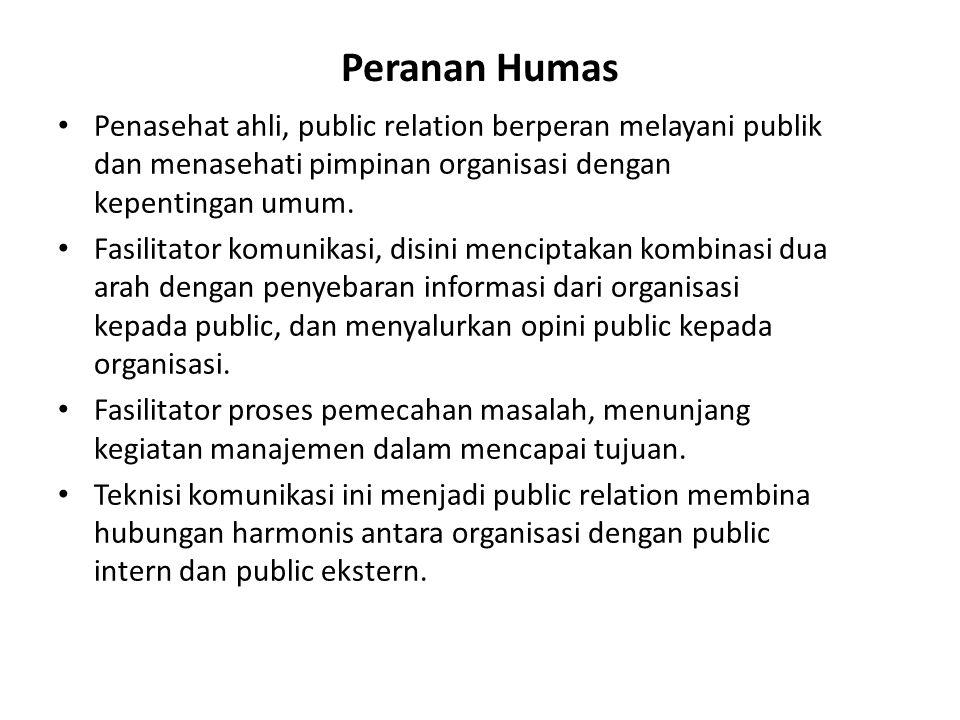 Peranan Humas Penasehat ahli, public relation berperan melayani publik dan menasehati pimpinan organisasi dengan kepentingan umum.