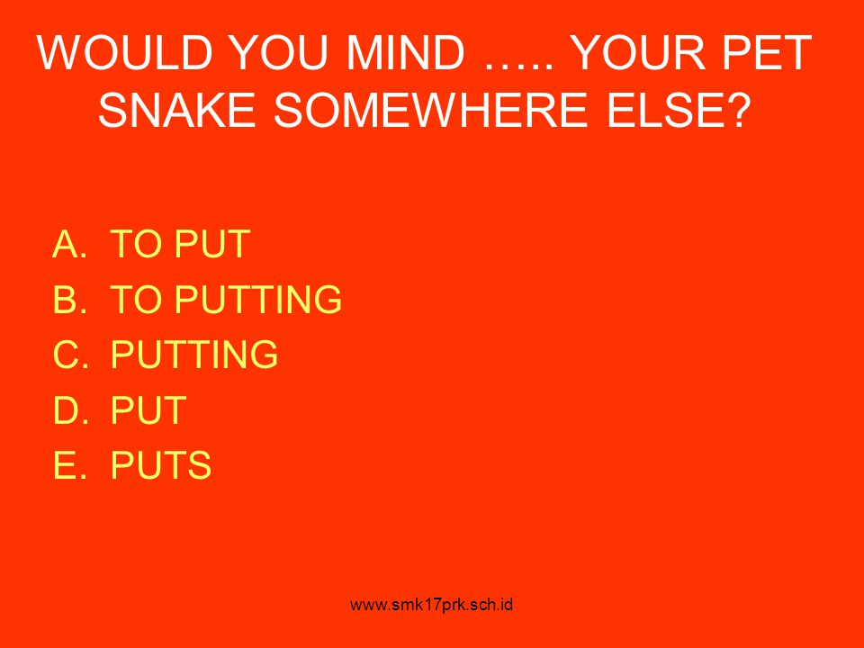 WOULD YOU MIND ….. YOUR PET SNAKE SOMEWHERE ELSE