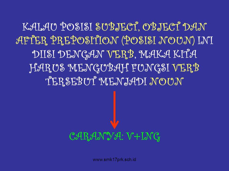 KALAU POSISI SUBJECT, OBJECT DAN AFTER PREPOSITION (POSISI NOUN) INI DIISI DENGAN VERB, MAKA KITA HARUS MENGUBAH FUNGSI VERB TERSEBUT MENJADI NOUN CARANYA: V+ING