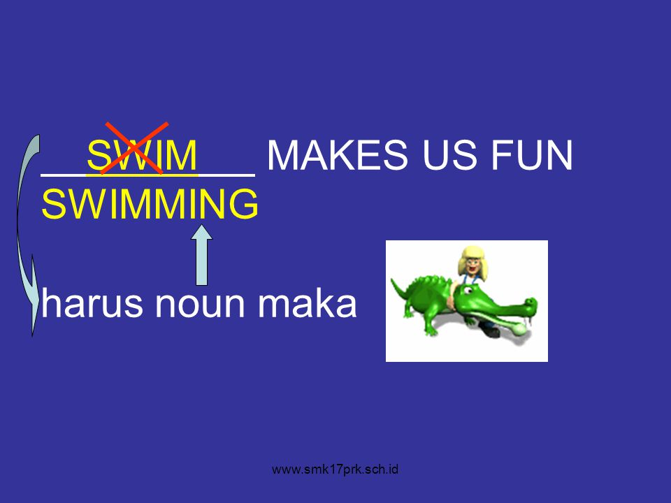 SWIM MAKES US FUN SWIMMING harus noun maka