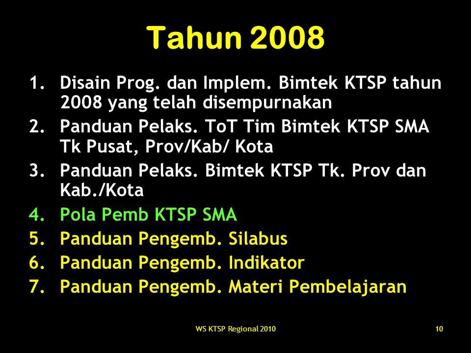 Tahun 2008 Disain Prog. dan Implem. Bimtek KTSP tahun 2008 yang telah disempurnakan.